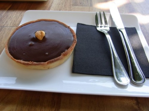 Chocolate and hazelnut tarte at Tarte and Quiche Barcelona