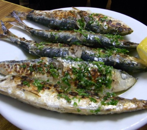 Grilled sardines at Can Maño, Barceloneta, Barcelona
