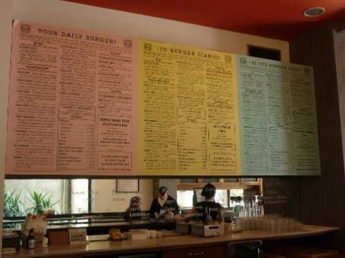 Menu at Kiosko burger bar in Born, Barcelona