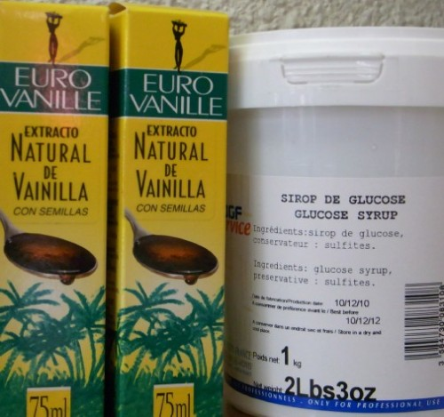 Sugar syrup and vanilla extract at Parami wholesaler, Barcelona