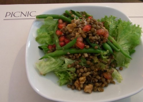 Lentil salad with walnuts, green beans and pomegranate at Picnic, Born, Barcelona, food blog, Claire Gledhill