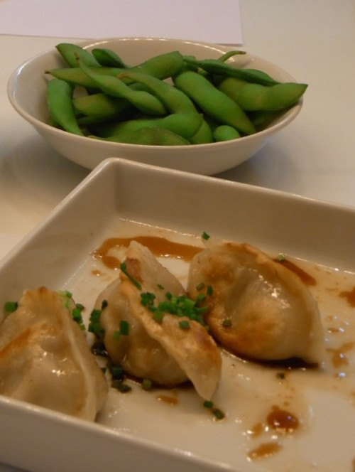 Gyoza dumplings and Edamame at Udon Barcelona, Claire Gledhill, Barcelona food blog