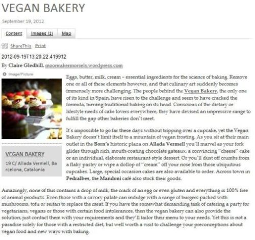 Vegan bakery September 2012 miniguide, Claire Gledhill, Barcelona food blog